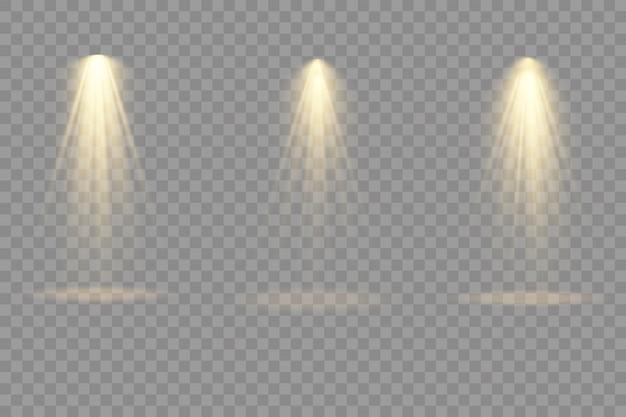 Coleção de holofotes de iluminação de palco, cena, grande coleção de iluminação de palco, efeitos de luz do projetor, iluminação amarela brilhante com holofotes, luz do ponto isolada em fundo transparente,