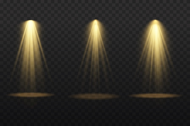 Coleção de holofotes de iluminação de palco, cena, grande coleção de iluminação de palco, efeitos de luz do projetor, iluminação amarela brilhante com holofotes, luz do ponto isolada em fundo transparente.