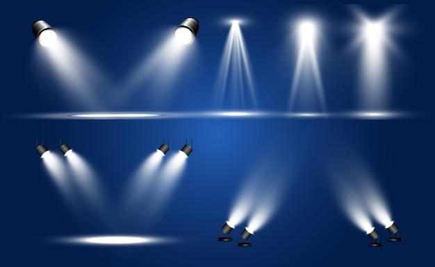 Coleção de holofotes, efeitos transparentes de luz.