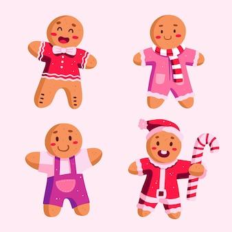 Coleção de homem-biscoito desenhado à mão