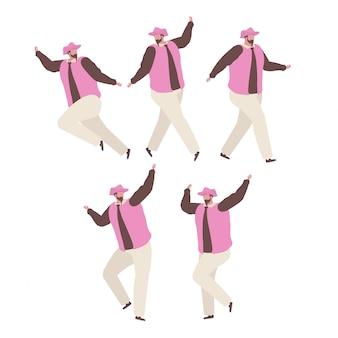 Coleção de homem dançando e se divertindo em uma festa de aniversário