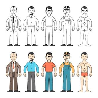 Coleção de homem dos desenhos animados