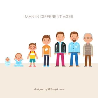 Coleção de homens brancos em diferentes idades
