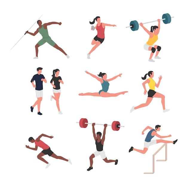 Coleção de homens e mulheres fazendo várias atividades esportivas atléticas.