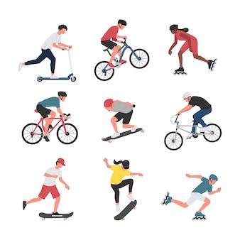 Coleção de homens e mulheres que praticam diversas atividades esportivas com rodas.