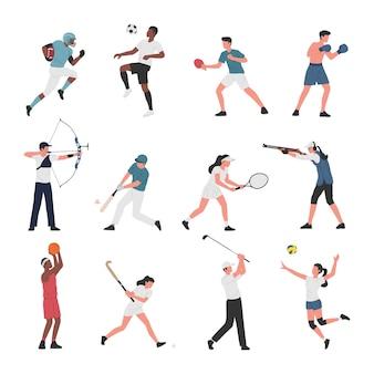 Coleção de homens e mulheres que praticam diversas atividades esportivas.