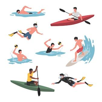 Coleção de homens e mulheres que praticam diversos esportes aquáticos.