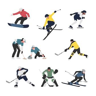 Coleção de homens e mulheres que praticam várias atividades esportivas olímpicas de inverno.