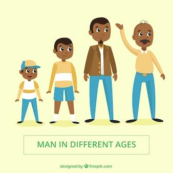 Coleção de homens negros em diferentes idades