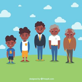 Coleção de homens negros em diferentes idades Vetor grátis