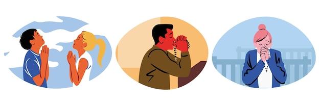 Coleção de homens religiosos, mulheres, personagens de desenhos animados cristãos