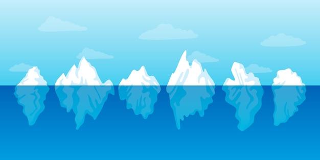 Coleção de icebergs de design plano