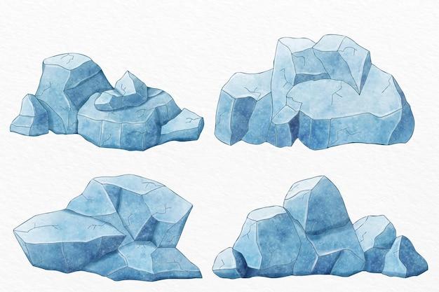 Coleção de icebergs desenhados à mão