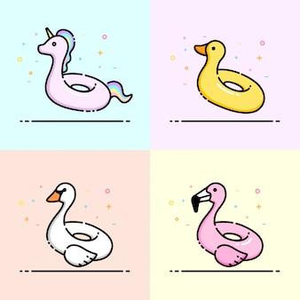 Coleção de ícone de anel de piscina bonito animal piscina