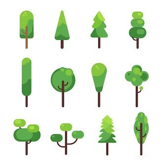 Coleção de ícone de árvores planas.