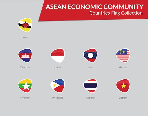Coleção de ícone de bandeiras aec