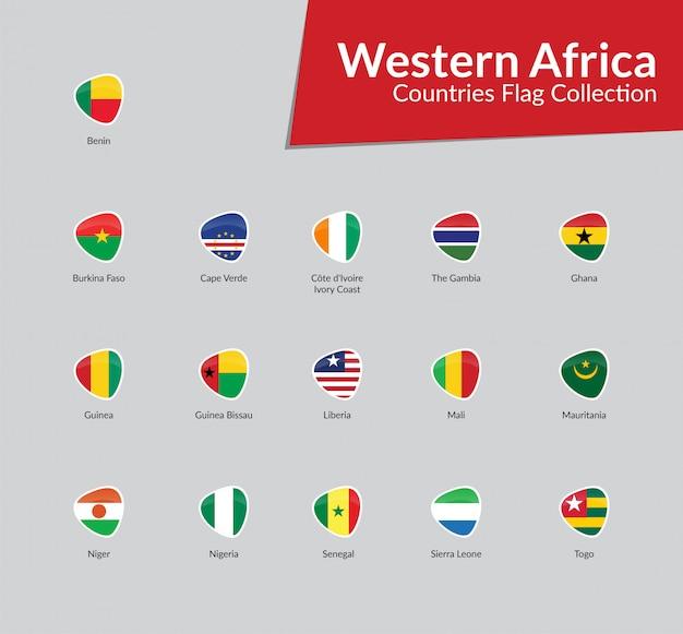 Coleção de ícone de bandeiras africanas ocidentais