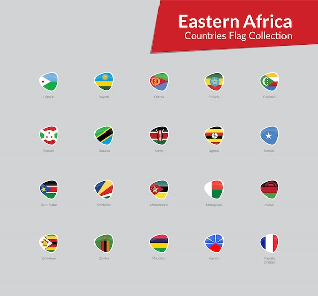 Coleção de ícone de bandeiras da áfrica oriental