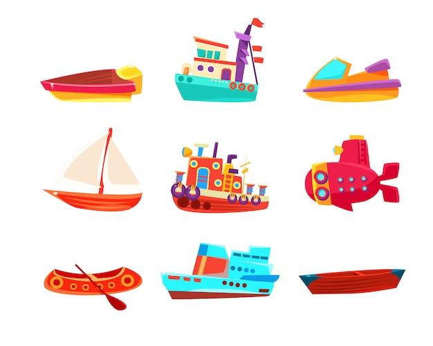Coleção de ícone de barcos de brinquedo de transporte aquático