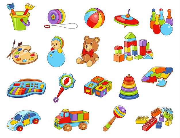 Coleção de ícone de brinquedo de crianças