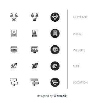 Coleção de ícone de cartão de visita de design plano