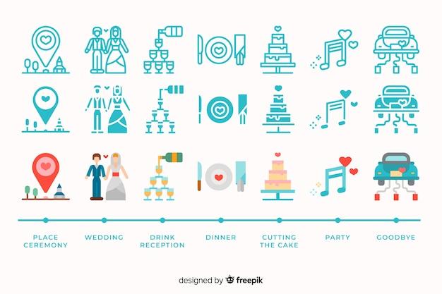 Coleção de ícone de casamento com ilustrações bonitinha