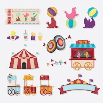 Coleção de ícone de circo. objetos de diversão bonito de ilustração vetorial