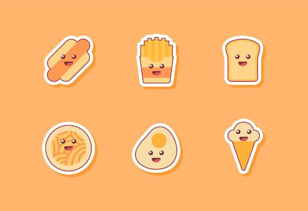 Coleção de ícone de comida isolada em laranja