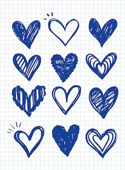 Coleção de ícone de coração, modelo de símbolos de amor