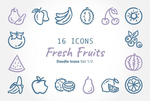 Coleção de ícone de doodle de vetor de frutas frescas