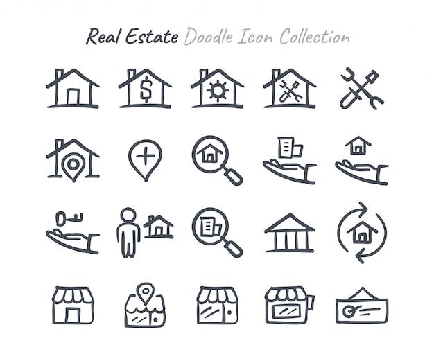 Coleção de ícone de doodle imobiliário
