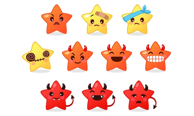 Coleção de ícone de emoticon de desenho animado estrela fofa em branco