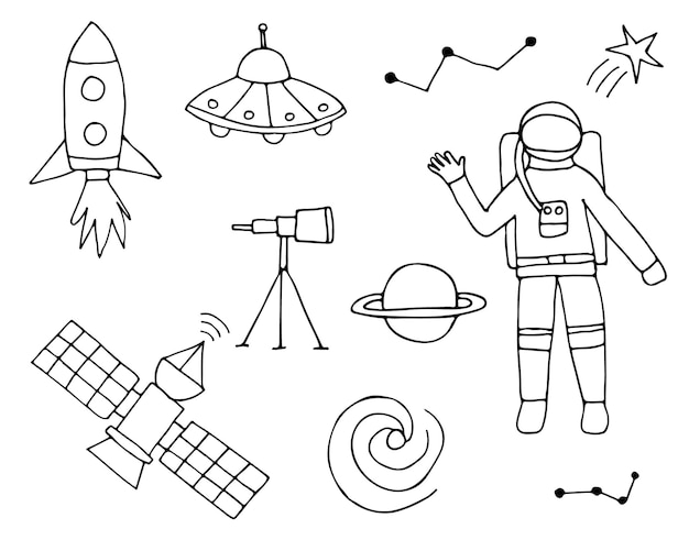 Coleção de ícone de espaço doodle em vetor. coleção de ícones cósmicos. conjunto de ícones de espaço de mão desenhada.