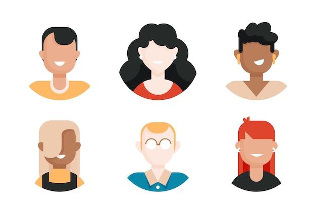 Coleção de ícone de perfil de design plano