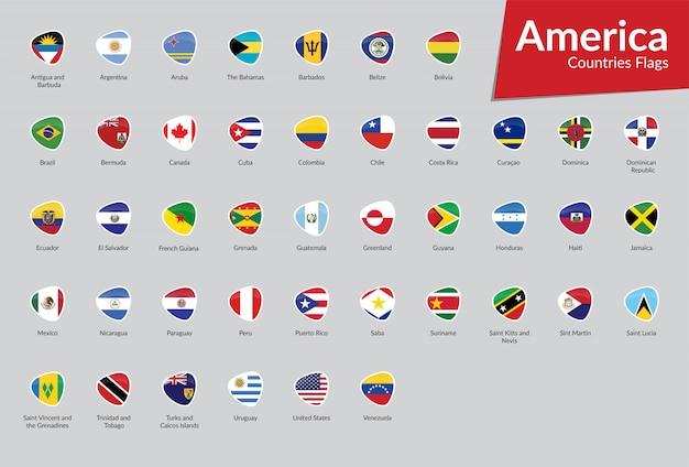 Coleção de ícone de sinalizadores de vetor americano