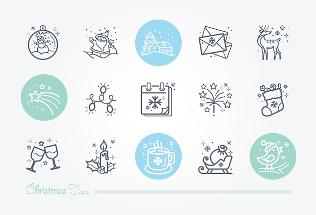 Coleção de ícone de tempo de natal