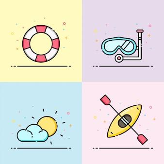 Coleção de ícone de verão em cor pastel