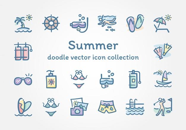Coleção de ícone de vetor de doodle de verão