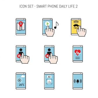Coleção de ícone de vida diária com smartphone
