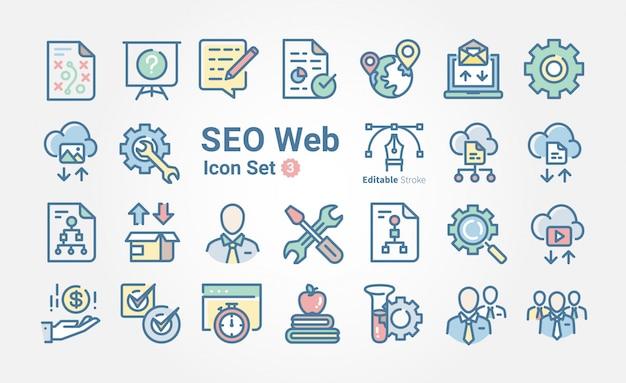 Coleção de ícone de web seo