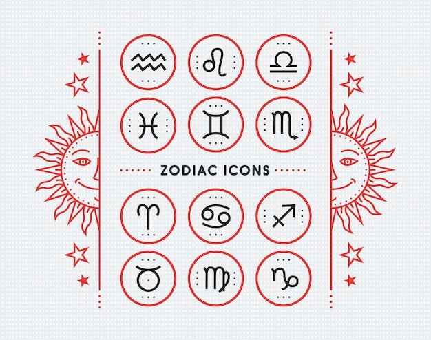 Coleção de ícone do zodíaco. conjunto de símbolos sagrados. elementos de estilo vintage de finalidade de horóscopo e astrologia. linha fina assina no fundo pontilhado brilhante. coleção.