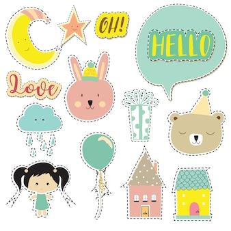 Coleção de ícone dos desenhos animados com urso, nuvem, lua, estrela, casa
