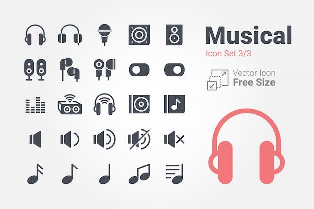 Coleção de ícone musical vector com estilo sólido