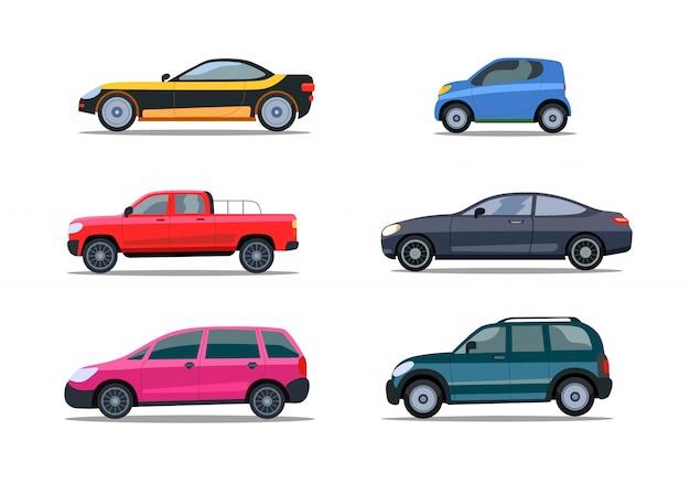 Coleção de ícone plana de carros modernos coloridos