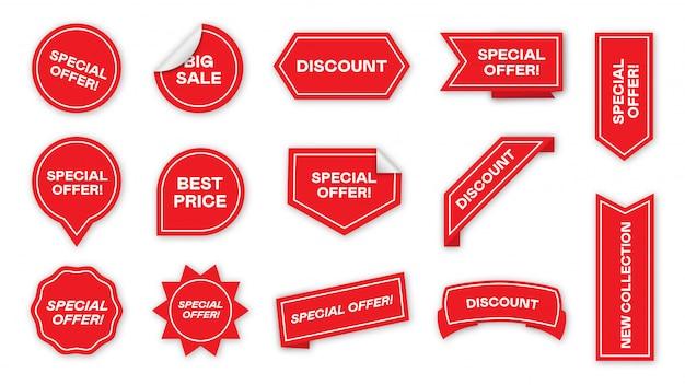 Coleção de ícone plana de etiquetas de oferta especial