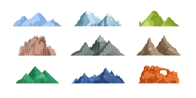 Coleção de ícone plana de montanhas e rochas