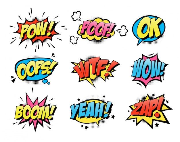 Coleção de ícone plana em quadrinhos explosão texto balões