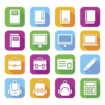 Coleção de ícones acadêmicos cor