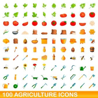 Coleção de ícones agrícolas isolados no branco