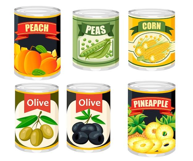 Coleção de ícones coloridos alimentos em lata de alumínio. frutas e azeitonas enlatadas. produto para supermercado e loja. ilustração no fundo.